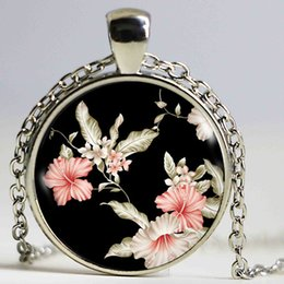 $enCountryForm.capitalKeyWord Australia - Fashion blossoms necklace pink flower statement necklaces glass pendant necklace silver chain women jewelry gift