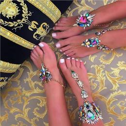 Модные ювелирные изделия горячая многоцветный Кристалл горный хрусталь ножные браслеты браслет пляжный отдых сандалии Сексуальная нога цепи женский Boho ножной браслет Бесплатная доставка на Распродаже