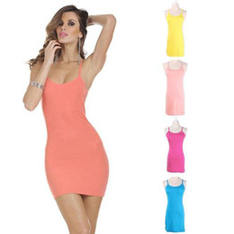 Barato Vestido Longo De Manga Longa Mini-Moda- Mulheres € s Verão Solid Spaghetti Strap Long Tank Top Mini Sundress Base Vest Dress
