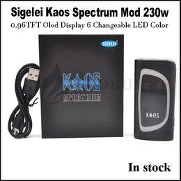 Sigelei Box Mod Original NZ - 100% original 230watt Sigelei Kaos Spectrum with Oled 6 LED Colors Kaos Spectrum 230w box mod for ammit Karma kylin skyhook spiral LIMITLESS
