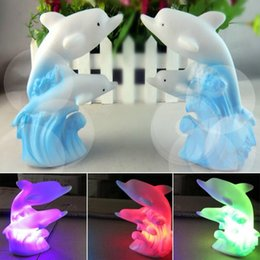 Discount dolphin night lights - Wholesale- Novelty 3D Cartoon Led Night Light 7 Colors Changing Dolphin Lamps Creative Decoration LED Table Lamp Night L