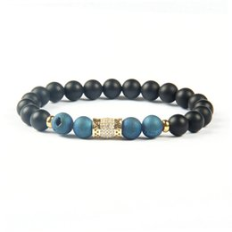 8mm cz bracelet UK - Powerful Space Jewelry Wholesale 8mm Matte Agate & Blue Purple Scrubs Openings Laugh Stone Clear Cz Gold And Silver Cylinder Tube Bracelet