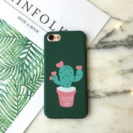 $enCountryForm.capitalKeyWord Canada - For Iphone 7 Phone Case Cactus Potted Plants Frosted Green Couple Acrylic Plastic Iphone Cases Iphone 7 6 6s Plus