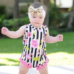 Barato Grossista-2017 Girls Baby Rompers Summer Sleeveless Onesies Cute Newborn Romper Flora Printed Toddler Bodysuit Mais novo Girl Infant Clothes Wholesale