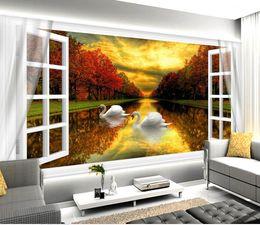 $enCountryForm.capitalKeyWord Canada - Luxury European Modern White windows sunset autumn lake lake swans beauty background 3D wall