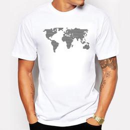 Cotton World Map Canada - Men's Fashion T Shirts Printing World Map Stripe Cotton Short Sleeve O-neck Tops Tees Summer Swag T-shirt