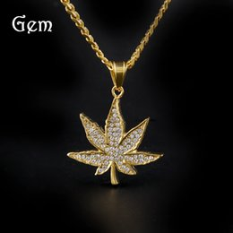 Jewelry Maple Gold Plate Canada - Golden Maple Leaf Pendant Men's Diamond Marble Leaf Pendant Stainless Steel Maple Leaf Hip-Hop Jewelry Necklace
