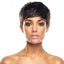 $enCountryForm.capitalKeyWord UK - Short Cut Human Hair Wig Brazilian Hair Short bob wigs For Black Women Lace Wigs With Bangs Human Hair Pixie Wigs