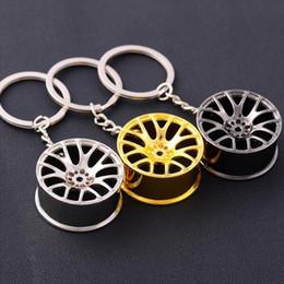 $enCountryForm.capitalKeyWord Canada - Wheel Rim Model Keychain Sleutelhanger Round 14K Gold Plated Trendy Keyrings Carabiner Car Keychain with Zinc Alloy