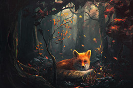 pattern decor Australia - DIY Diamond Paintings Animal Orange Wolf in the Forest Decor Picture Pattern Cross Stitch Diamond Paintings Embroidery Cross Home Decoration