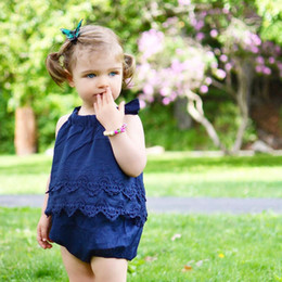 Discount toddler clothing sizes - baby romper Ins hot sell babies lace rompers kids all in one cute jumpsuit infant toddler summer clothing boutiques
