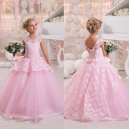 Barato Vestir-se Vestidos De Casamento Meninas-2017 Crew Neck mangas Pink Lace Tulle Flower Girls vestidos Cute Lace Up Voltar Wedding Party Vestidos para as meninas Princesa Pageant Wear