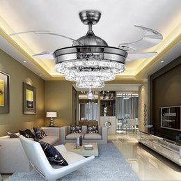 European Led Crystal Stealth Ceiling Fan Lamp Living Room Dining Bedroom Simple Lights