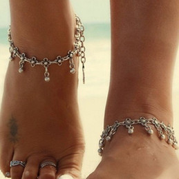 flower bohemian sandals 2019 - Bohemian Ankle Bracelets Girls Ladies Vintage Waterdrop Antique Silver Engraved Flowers Ankle Bracelets Foot Chains Bare