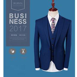 Men S Long Wedding Suit Australia - Royal Blue 3 Piece Suit Pant Coat Design Men Wedding Suits Pictures Plus Sizes S to 4XL L-937