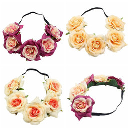Discount garland crown - Handmade Christmas Fabric Peony Rose Flower Crown Bridal Hair Accessories Prom Garland for Bridesmaid Flower Wreath