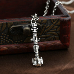 doctor sonic screwdriver wholesale UK - Vintage Doctor Who sonic screwdriver pendant necklaces silver Cylinder charm mysterious Dr. TRADIS statement Necklaces movie jewelry