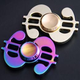Dollar fiDget spinner online shopping - 2 Colors Zinc Alloy Rainbow US Dollars Hand Spinner Fingertips Spiral Fingers Gyro Torqbar Fidget Spinner Decompression Toy