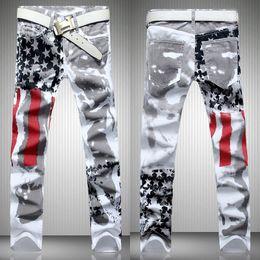 AmericAn flAg denim online shopping - Fashion hot mens designer jeans men denim with wings american flag plus size