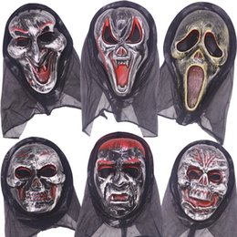 Discount scream ghost face costume - Wholesale Halloween Costume Party Long Face Skull Ghost Scary Scream Mask Face Hood Scary Horror Terrible Mask with Hood