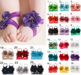 $enCountryForm.capitalKeyWord UK - Toddler baby sandals chiffon flower shoes Crystal Pearl cover barefoot foot flower ties infant kids first walker shoes Photography props
