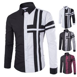 $enCountryForm.capitalKeyWord Canada - Wholesale- Men Fashion Cross Print Contrast Color Casual Turn-down Collar Long Sleeve Shirt