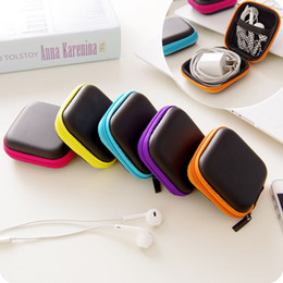 Battery Storage Organizer Canada - Earphone Wire Cables Storage Box Zipper Protective Data Line battery Storage Container Organizer Case Earbuds SD Card Box colorful color new