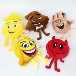 $enCountryForm.capitalKeyWord Canada - Emoji Movie Backpack Pendant Key Ring 10CM Cartoon Emoji Plush Keychain Emoji Movie Soft Stuffed Toys Doll Keychain