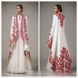 b08109b5397 2017 Malaysia Middle East Style Formal Evening Dresses With Red Lace Plus  Size Long Sleeves Two Pieces Chiffon Muslim Prom Occasion Gowns