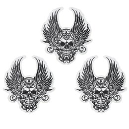 $enCountryForm.capitalKeyWord UK - 1 PCS King Skull Badges Punk Patches for Motor Clothing Iron on Transfer Applique Patch for Garment Jacket Sew on Embroidery Badge