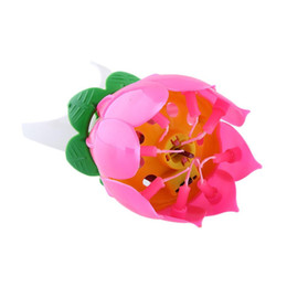Music Birthday Candles UK - Hotsale Romantic Musical Lotus Flower Happy Birthday Party Gift Music Candle Lights Birthday Candle