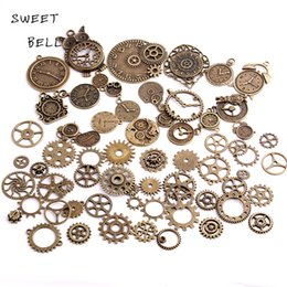 40pc Lot Diy Vintage Charms Metal Zinc Alloy Gear Pendant Mixed Steampunk Clock For Jewelry Making H3013