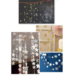 China Wholesale- 1pcs Star-shaped Paper Garlands 4M Colorful Bunting Home Wedding Party Banner Hanging Paper Garland Shower Room Door Decoration cheap star room wedding suppliers