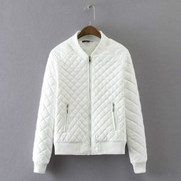 e736726c1a Quilted Quilting Plaid Bomber Jacket Winter Zipper pockets Long sleeve Thick  Padded Short Coat Pilots Outwear