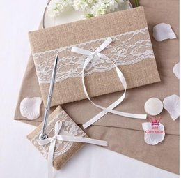 Discount butterfly pens Wholesale-Hot Burlap White butterfly Lace bow Lace Decor Ribbon Wedding Guest Book And Pen Set wedding favors and gifts
