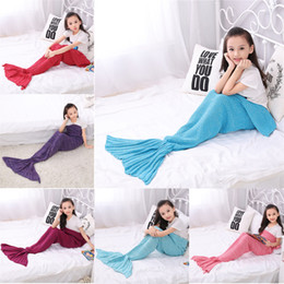 acrylic beds 2019 - Free DHL140*70cm baby blankets Mermaid Tail blankets handmade crochet mermaid blanket throw bed Wrap super soft sleeping