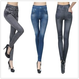 Polainas Al Por Mayor Más Tamaño Baratos-Venta al por mayor- Venta Invierno Leggings Jeans para Mujer Denim Pantalones con bolsillo Slim Jeggings Fitness Plus Size Leggings S-XXL Negro / Gris / Azul