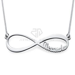 China Hot Sales High Polished stainless steel custom-made name Desgin pendant Infinity Name Necklace gift jewelry with bag suppliers