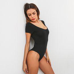 d32f8d0edb9e Women s Jumpsuits Backless Bodysuit short Sleeve Sexy Bodysuit Black Summer  Overalls Body for women Combinaison Femme Blusa Salopette