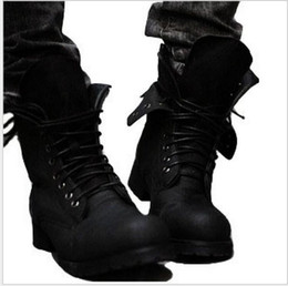 $enCountryForm.capitalKeyWord Canada - Wholesale- Brand Two Colors Retro Combat boots Winter England-style fashionable Riding boots Men's short Black High-Top Leather shoes Hot!