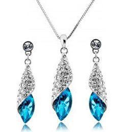 Wholesale Pendant Sets NZ - Luxury Crystal Bridal Jewelry Set Women Wedding Earrings Necklace Water Drop Austrian Rhinestone Pendant Necklace Jewelry for Party