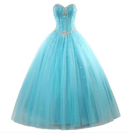 China New Elegant Mint Blue Quinceanera Dresses Ball Gown with Beads Ruffles Sequin Lace-Up sweep train Prom Party dress cheap crystal mints suppliers