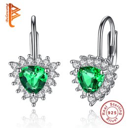 $enCountryForm.capitalKeyWord Canada - BELAWANG Wholesale 2 Colors 925 Sterling Silver Women Earrings Green Austria Crystal Heart Stud Earrings Valentines Gift Prevent Fall off