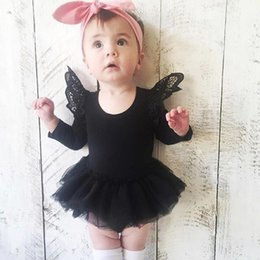Barato Um Macacão De Manga Branca-2017 Spring Girls Rompers Cute Lace Tutu Puff Long Sleeve Toddler Algodão One-piece Jumpsuits Girl Party Gifts Romper Preto Branco Pinkl A6163