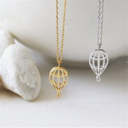 $enCountryForm.capitalKeyWord Canada - New Trendy Jewelry Wholesale Hot Air Balloon Necklace Cute and Sweet Sky Balloon Necklace For Birthday Gift Dainty Sparkly Gift