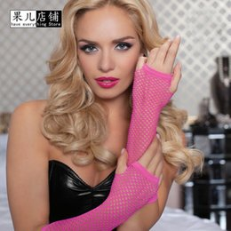 Filet Femme Sexy Pas Cher-Vente en gros- Hot 1 Pair Womens Sexy Sheer Fingerless Socking Net Lace Party Gants Thin Mesh Fishnet Elastic Half Elbow Longueur 11 Couleur
