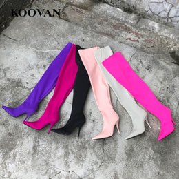 Stretch Over Knee Boot Canada - 6 Color High Heel Sock Boots Over Knee Boots 2017 Koovan Hot Sale Spring Autumn Women Shoes Stretch Shoes High Quality W167