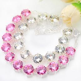 $enCountryForm.capitalKeyWord NZ - Mix 2PCS Wholesale Wedding Jewelry Gift Classic Round Pink White Cubic Zirconia Gems 925 Sterling Silver Fashion Chain Bracelets