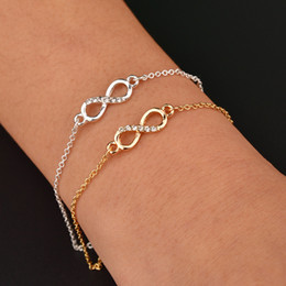 Gold Silver Bracelet Charms Canada - Infinity Charms Bracelets Gold Silver Chain Bracelets for Women Alloy Charm Bangles High Quality Fashion Jewellery