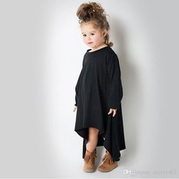 Tee-shirt De Combat Pour Enfants Pas Cher-Baby Girl Autumn Dress Max Batwing Loose Asymétrique manches longues T-shirts pour les enfants costume noir et gris Livraison gratuite